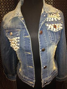 denim lace and pearl denim jacket