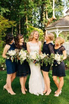 Bridesmaids Inspiration: Photo Captured by Angela Shae via Every Last Detail - Lover.ly #blackandwhite #wedding #dresses