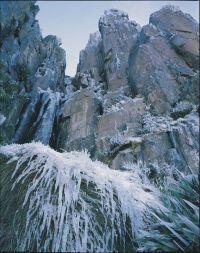 "Peter Dombrovskis  ""Icicles, Organ Pipes""  Mount Wellington, Tasmania  1990"