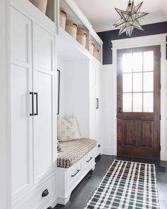 Mudroom Built-ins hides all the kids every day things while a huge walk in close. - Mudroom Built-ins hides all the kids every day things while a huge walk in close. - Mudroom Locker Halltree Entryway bench Build in look Custom Room, Mudroom, Mudroom Decor, House, Interior, Home, House Entrance, Mudroom Design, New Homes