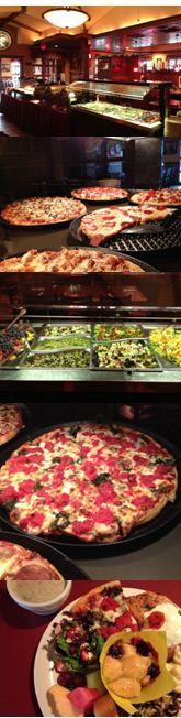 Delicious lunch buffet at Home Run Inn. Good pan but I like their thin a little more.