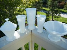 Set of 5  Milk Glass Compotes Vases  Instant by MorrellDecor, $48.00