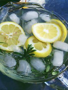Lemon rosemary infused water.