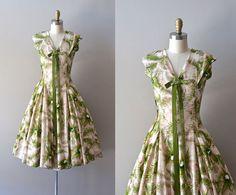 vintage 1950s dress / silk 50s dress / Whisk Fern by DearGolden, $244.00