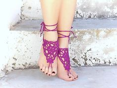 Purple Lilac Barefoot Sandals Crochet Nude shoes  Foot by Lasunka, €11.00