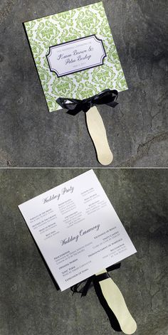 Wedding Fan Programs Template with Damask Design