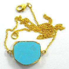 Superior quality Synthetic Turquoise gemstone brass chain statement new necklace #Handmade #Chain