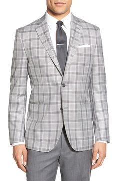 John W. Nordstrom® Classic Fit Windowpane Wool & Silk Blend Sport Coat