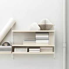 Pocket In Ash White ($150) ❤ liked on Polyvore featuring home, furniture, storage & shelves, bookcases, book-shelf, white book shelf, white shelving unit, cd shelf and book-shelves