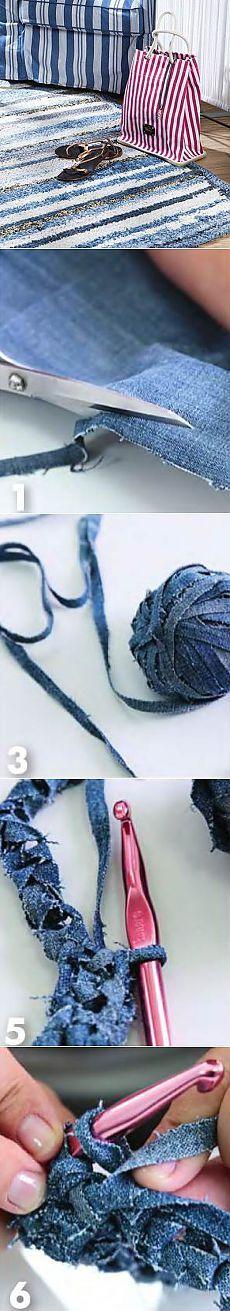 Джинсовый ковер своими руками | Вязание крючком и спицами