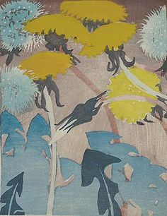 Dandelions by Mabel Royds (1874-1941)....born in Bedfordshire, Royds however joined the staff of Edinburgh College of Art in 1911 and spent most of the rest of her life in Scotland...woodblock print...
