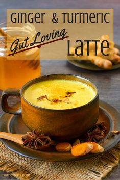 """Ginger and Turmeric Gut Loving Latte - NutriChem Recipe - Creamy and delicious, this dairy-free """"latte"""" will please your tastebuds while healing your gut. Tumeric Latte Recipe, Turmeric Recipes, Ayurvedic Recipes, Tea Recipes, Coffee Recipes, Shot Recipes, Yummy Drinks, Healthy Drinks, Breakfast"""