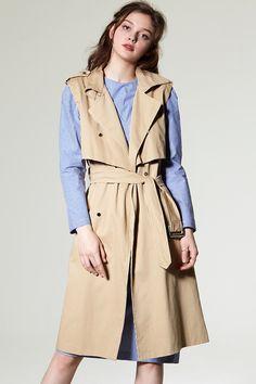 Ivena Trench Vest Jacket Discover the latest fashion trends online at storets.com #Stripe Jacket Dress  #fur coat  #Stripe Jacket