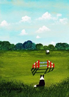 Border Collie Dog AGILITY limited edition reproduction art print of Todd Young painting on Etsy, $13.50
