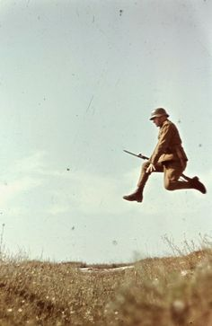 Hungarian soldier training by photographer Konok Tamás. He was less interested in the war, but rather the landscapes, ordinary people, or even the movement itself: This picture derived from the image sequence which recorded the different stages of the jump. The shooting has not been calculated at this time as an 'art', but only in the 60's when the picture made its way to the museums, it has become an art form of photography