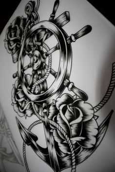 Anchor and Roses Tattoo Idea . I would personally get it without the wheel
