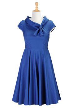 Royal Blue Poplin Dress | eShakti