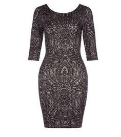Black Jacquard Paisley Scoop Back Bodycon Dress