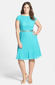 Free shipping and returns on London Times Belted Cap Sleeve Lace Fit & Flare Dress (Plus Size) at Nordstrom.com. Lovely turquoise lace fashions a flattering cap-sleeve dress fitted through the bodice with princess seaming and flared at the hips for a rippling finish. A slender metallic belt polishes the waist while a V-back ensures a pretty exit.