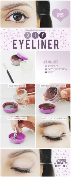 DIY Eyeliner girl makeup make up purple diy eyeshadow diy ideas do it yourself easy diy eyeliner brush diy tips diy makeup diy fashion diy tutorials