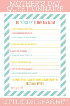 Looking for a cute Mother's Day Questionnaire for Mother's Day? This Riesens I Love My Mom' questionnaire is perfect! Mothers Day Crafts For Kids, Mothers Day Presents, Mother Day Gifts, Diy Mother's Day Crafts, Mother's Day Diy, Mother's Day Activities, Activity Days, Mother's Day Games, Young Women Lessons