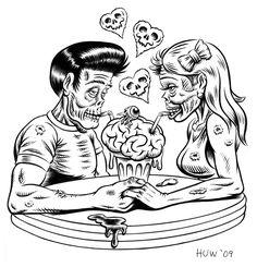 Zombie Couple Inks by Huwman Zombies, Arte Zombie, Zombie Art, Zombie Pin Up, Dark Love, Arte Horror, Couple Drawings, Psychobilly, Couple Art
