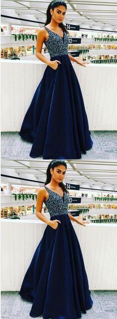 Elegant V Neck Prom Dress with Beaded, Long Homecoming Dress, Navy Blue Prom Dresses