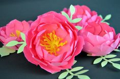 Pink paper peonies wedding party shower table by Floweremotions2