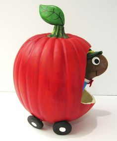 Mr. Lowly Worm and his apple car have been transformed into a pumpkin! Richard Scarry would be proud.