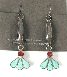 NOS turquoise and coral Wire Dangle Earrings E532