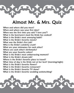 Bridal shower trivia questions about the couple