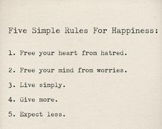 Quote #95 Five Simple Rules For Happiness