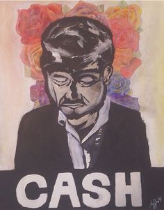 Acrylic painting done on canvas of Johnny cash.