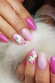 18 Gorgeous Floral Nail Art Designs for Spring Fancy Nails, Cute Nails, Pretty Nails, New Nail Art Design, Best Nail Art Designs, Spring Nail Art, Spring Nails, Floral Nail Art, Design Floral