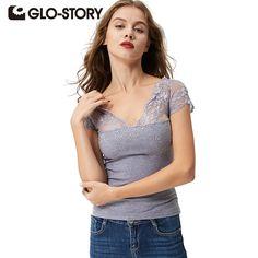 #savemajor at savemajor.com GLO-STORY Fashion... Happy 4th of July! http://savemajor.com/products/glo-story-fashion-female-t-shirt-2017-summer-basic-short-seleeve-t-shirt-women-v-neck-black-lace-patchwork-ladies-top-tees-1363?utm_campaign=social_autopilot&utm_source=pin&utm_medium=pin #4thofjuly