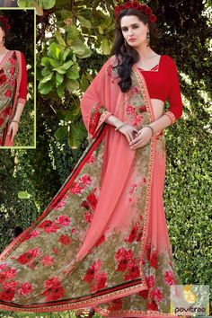 Awesome looking red and gajri color pure georgette saree with price. Purchase this casual daily wear formal saree for all young generation morden woman. #saree, #georgettesaree more: http://www.pavitraa.in/store/georgette-saree/