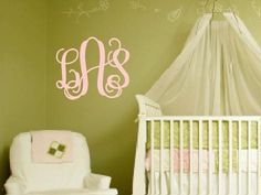 3 Initial Monogram Wall Decal by ten23designs on Etsy