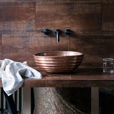 Perfect for adding an industrial look in the bathroom, these extra-large metallic wall tiles make an eye-catching backdrop for the handcrafted basin. Copper Bathroom, Diy Bathroom, Modern Bathroom Decor, Bathroom Trends, Bathroom Basin, Rustic Bathrooms, Bathroom Interior, Bathroom Vanities, Bathroom Ideas
