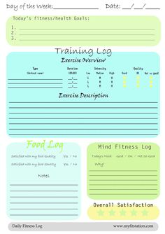 Printable blank workout charts, food log, exercise log, running ...
