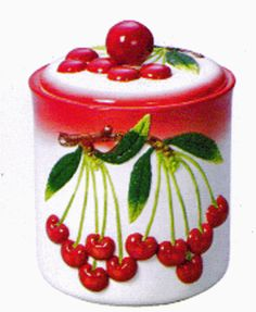Ceramic Cherries Cookie Jar