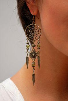 Dream Catcher earrings, boho earrings, hippie earrings, summer earrings, feather bohemian earrings, gypsy long earrings. Dreamcatcher.