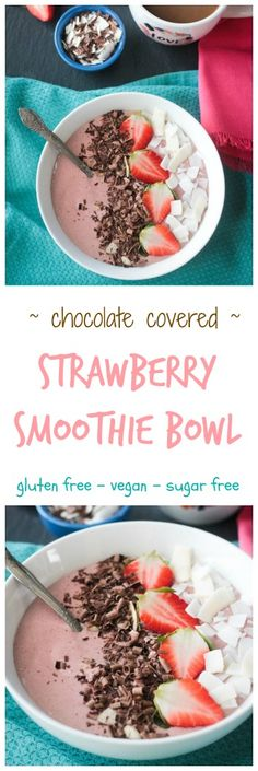 Chocolate Covered Strawberry Smoothie Bowl - Super easy to make Vegan dairy free gluten free refined sugar free Perfect for breakfast snack or dessert Delicious for Christmas morning or Valentine's Day or ANYTIME! Click the image for more info. Vegan Breakfast Recipes, Vegetarian Recipes, Healthy Recipes, Breakfast Fruit, Easy Smoothies, Smoothie Recipes, Fruit Smoothies, Smoothie Bowl, Chocolate Strawberry Smoothie