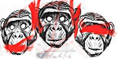 Trash polka 3 wise monkey  tattoo design ©michaela Ink