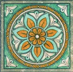 Ceramic Tile Lot sale of 20 Tiles Gloria Plomo (Aqua) Tile Insert Flower Italian