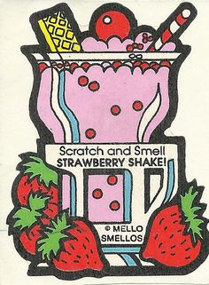 Vintage 80's Mello Smellos Strawberry Shake Scratch and Sniff Sticker