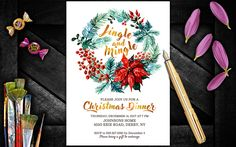 Christmas Dinner Invitation, Christmas invitations instant download, Christmas invites, Christmas Party invite by PrintablesForEvents on Etsy