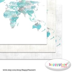Aqua grey world map wall art print with personalised text or quote large world map wall art with watercolour texture with custom text or personalised wording this map is available as a downloaded digital file gumiabroncs Gallery