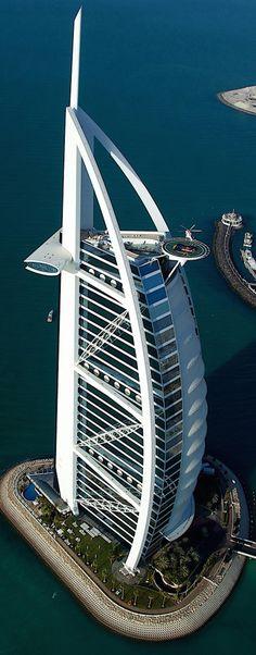 Burj Al Arab Hotel, Dubai, United Arab Emirates Burj Al Arab, Amazing Buildings, Amazing Architecture, Cool Places To Visit, Places To Travel, Naher Osten, Dubai Skyscraper, Dubai Hotel, Exotic Places