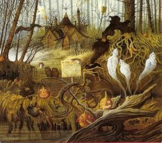 Every day is Halloween : by Charles Wysocki Retro Halloween, Halloween Chat Noir, Photo Halloween, Halloween Prints, Halloween Pictures, Halloween Cards, Holidays Halloween, Happy Halloween, Halloween Decorations