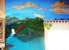 Detalhe de pintura em parede, trabalho em andamento Adriana Klein
